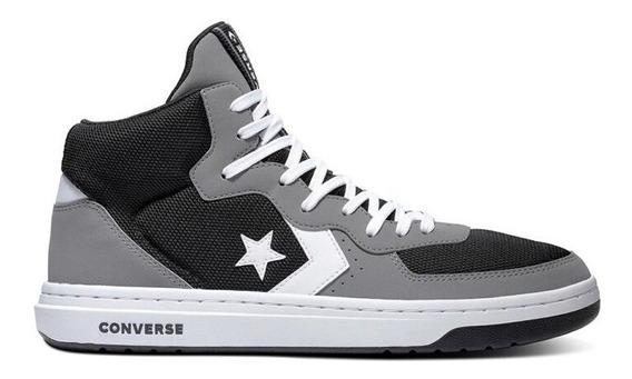 Zapatillas Converse Modelo Rival Mid Gris Negro Blanco