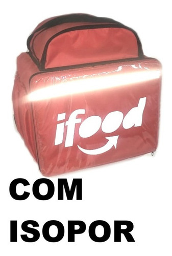 Kit 2mochila Ifood Delivery 45 Lts Vermelha + 1 Caixa Isopor