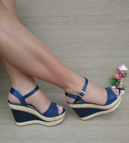 Sandalia Alta Plataforma Azul De Moda Dama Estilos Modernos