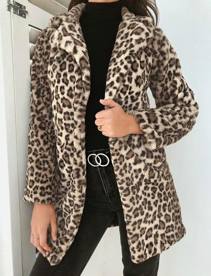 Chaqueta Abrigo De Invierno De Leopardo Fluffy Fleece Cardig