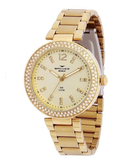 Relógio Backer Feminino Ref: 12025145f Ch Fashion Dourado