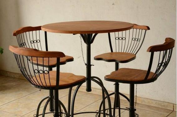 Conjunto P/ Sala De Estar Mesa E 4 Cadeiras Madeira E Ferro
