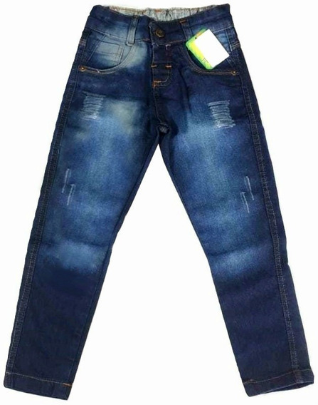Kit 2 Calças Jeans Infantil Masculina Menino Brim Atacado