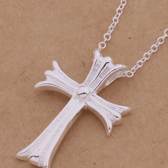 Colar Masculino Feminino Banho Ouro 18k Crucifixo Cruz C745