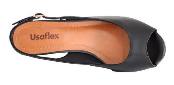 Sandália Anabela Confortável Usaflex Preta R5205