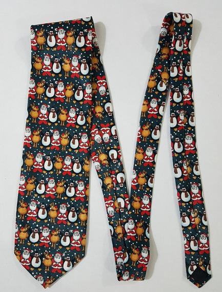 Navidad Corbata Con Santa Claus,reno Y Pinguino Corb401