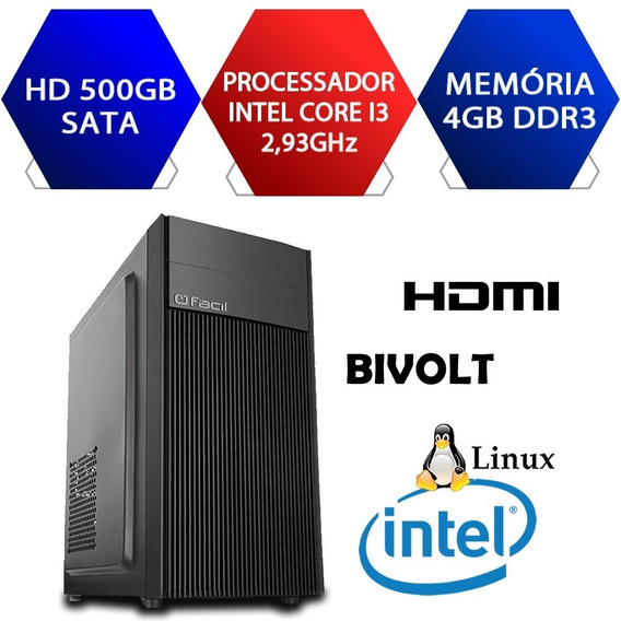 Computador Fácil Intel Core I3 2,93 4gb Ddr3 Hd 500gb Novo