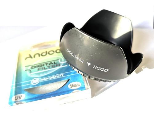 Parasol Pétalo + Filtro Uv 58mm Para Lentes Canon, Nikon