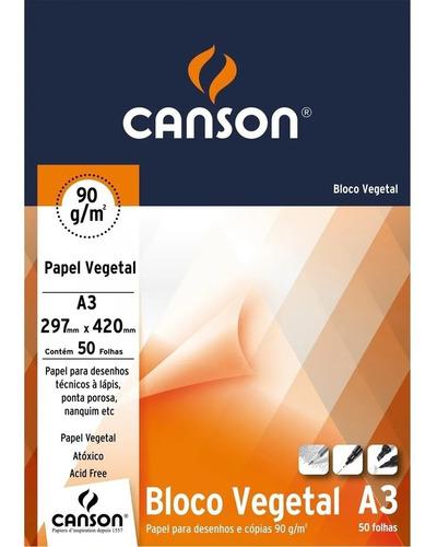 Bloco Canson Papel Vegetal  90g A3 50 Folhas