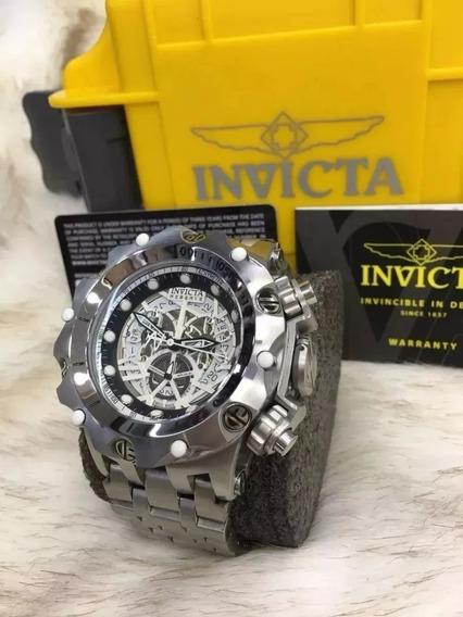 Relógio Bbg2030 Invicta 16855 Hybrid Skeleton Prateado Fundo Preto Frete Gratis Com Caixa E Manual