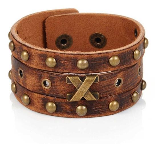 Pulseira Bracelete Couro Masculino Retrô Marrom Viking Rock