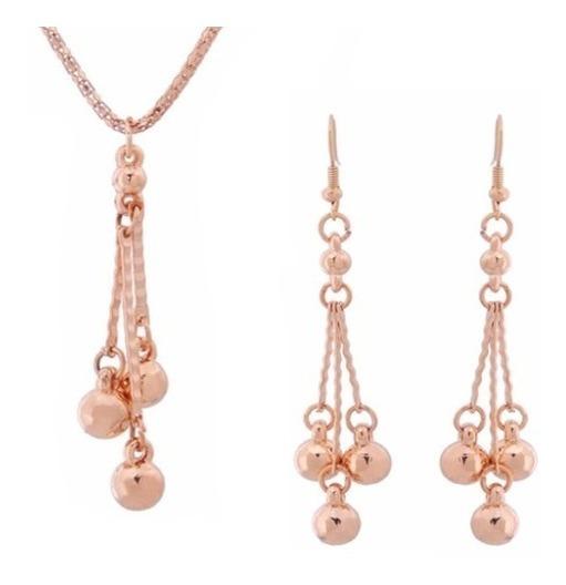 Collar Y Aretes Perlas Doradas De Oro Lam. Envio Gratis