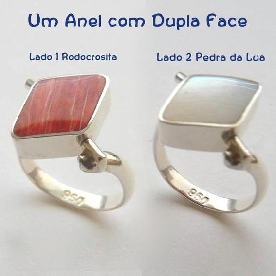 Anel De Prata Peruana 950 Com Duas Faces Duas Pedras 6883pb