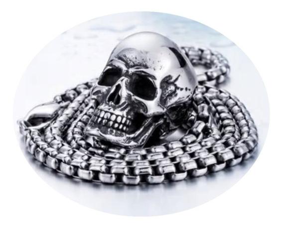 Calavera Cráneo Biker Rock Dije Collar Acero Inox Unisex Hx4