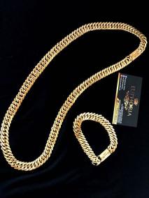 Conjunto Lacraia 13mm Banhado A Ouro