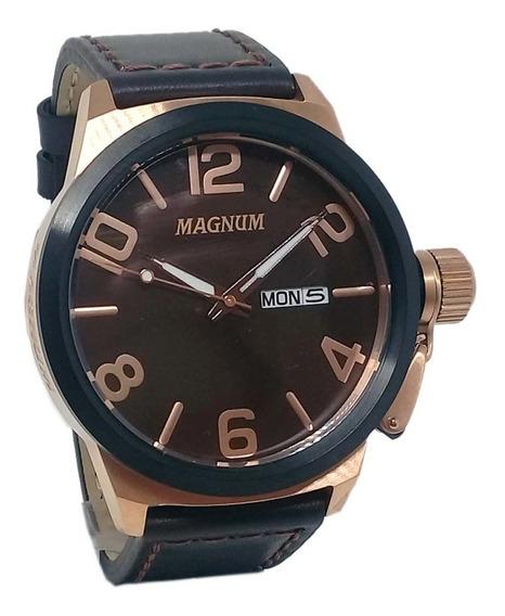 Relógio Magnum Masculino Pulseira De Couro Estilo Militar Ma33399z