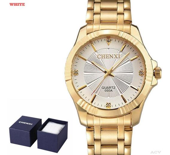 Relógio - Masculino Chenxi 050a - Dourado - Super - Barato