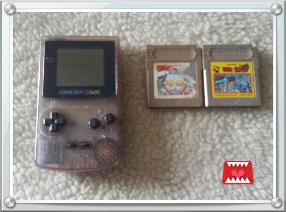 Console Game Boy Color Transparente Roxo + 2 Jogos Orig. Gb