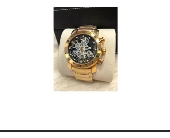 Relógio BvLG Skeleton M7 Série Ouro Original