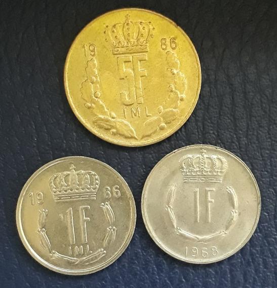Lote X 3 Monedas Luxemburgo. 5 Francos 1986