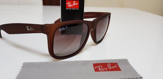 Óculos De Sol Ray-ban Justin 4165 Marrom Degradê Original.