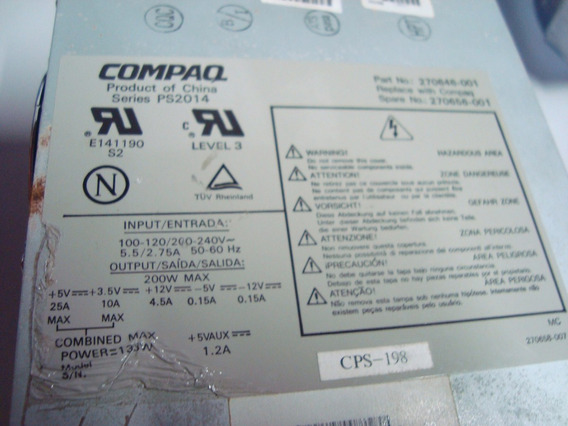 Fonte Hp Compaq 200w Deskpro 4000 - 270656-001 Ps2014 -