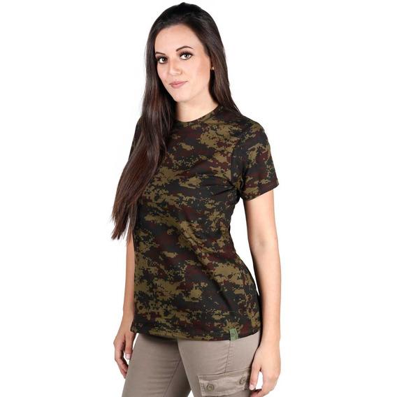 Camiseta Soldier Feminina Camuflada Digital Argila
