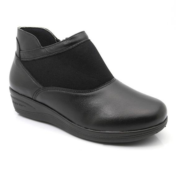 Bota Feminina 208 Em Couro Café Vegetal/preto Doctor Shoes