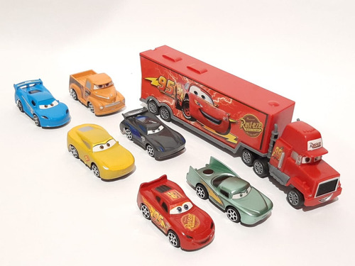 Mcqueen Camión Cars Con 6 Carros De Cuerda