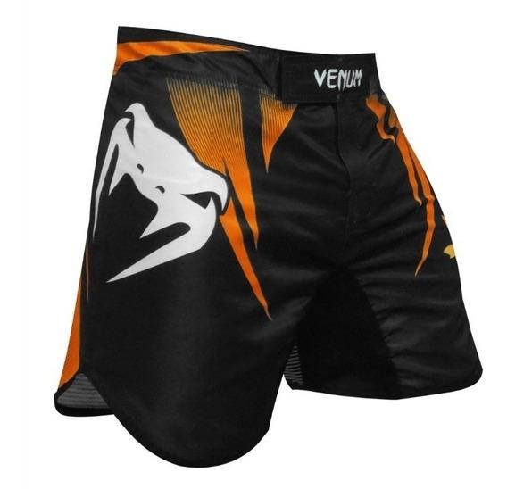 Bermuda Short Venum Fight Team Edition Preto Laranja Neon