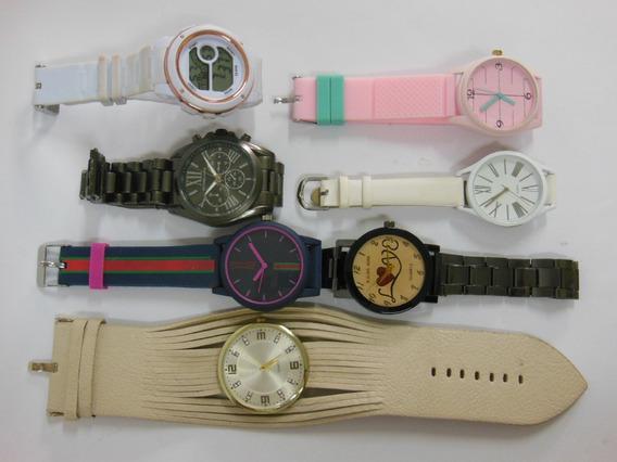 Lote Misto Com 7 Relógios De Pulso Couro/aço Usados Ótimo