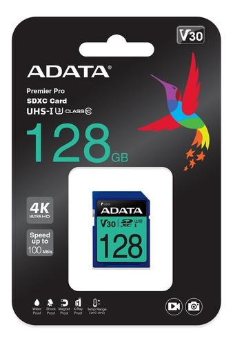 Memoria Sd Adata 128gb Premier Pro Sdxc Uhs-i U3 Video En 4k