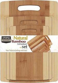 Tabla De Cortar De Bambu Set 3 Unidades Duradera Canales