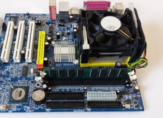 Placa Mae Ga 8vm800m Com Processador E Com Ram