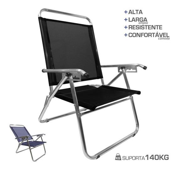 Cadeira Praia King Reclinável Alumínio 140kg Oversize Zaka
