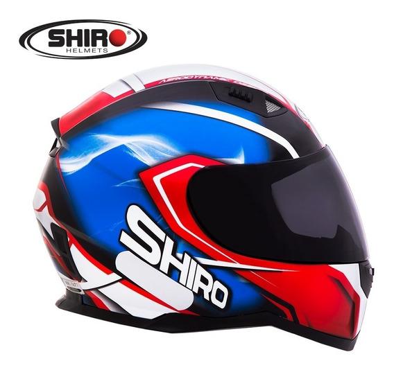 Capacete Shiro Sh 881 - Motegi - Azul/vermelho