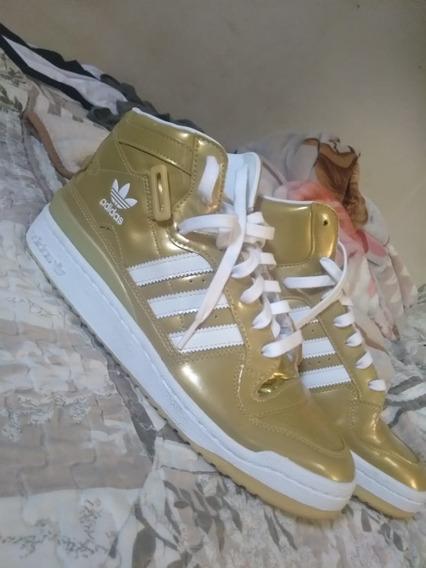 Tenis adidas Fórum Nigo 25 Dourado Semi Novo