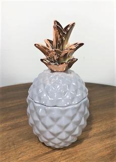 Pote Cerâmica Abacaxi Cinza Rosê 17cm