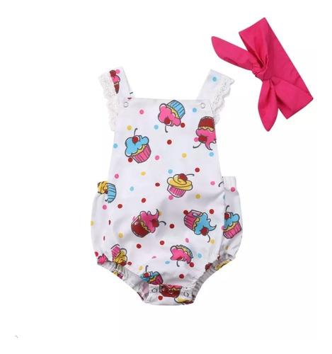 Asoleador - Mono - Mameluco - Body Bebé Niña Cupcakes Balaca