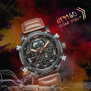 Reloj Naviforce Digit/analogo 9160crono Luz Alarm Cuero Jap