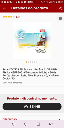 Imagem 1 de 5 de Smart Tv 3d Led, Philips Modelo 42pfg6519/78