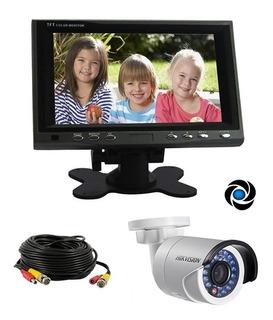 Kit Seguridad Monitor Lcd 7 Color + Camara Infrarroja 12v + Cable Listo Para Instalar