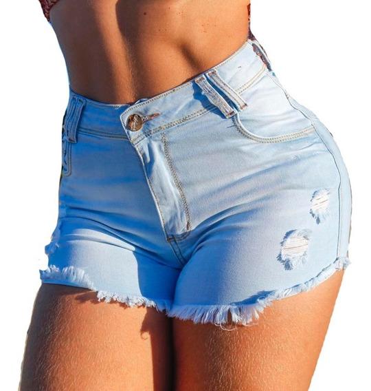 Kit 2 Short Jeans Feminino Levanta Bumbum Cintura Alta