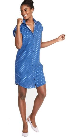 Vestido Camisa Dama Mujer Manga Corta Azul 390764 Old Navy