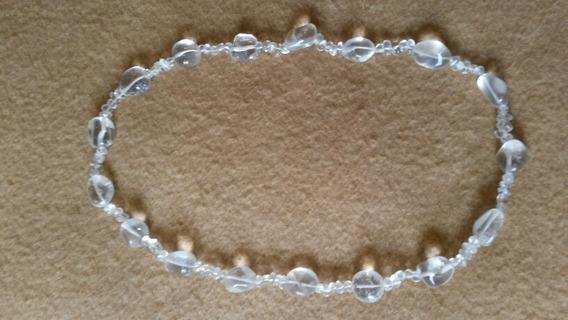 Colar De Pedras Semi Preciosas De Cristal Brilho Translúcido