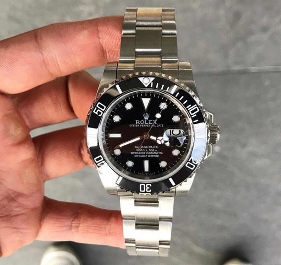Rolex Submariner Prata Preto Com Data 40mm Automático