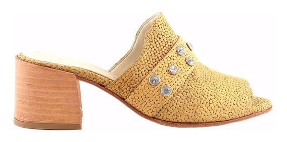 Zueco Zapato Mujer Cuero Briganti Taco Medio - Mcsu48020 Gg