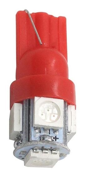 02 Lampadas Automotiva Cor Vermelho Soquete T10 5 Leds