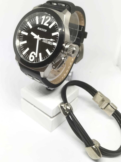 Relógio Military Magnum Pulseira Em Couro Ma31533c Original