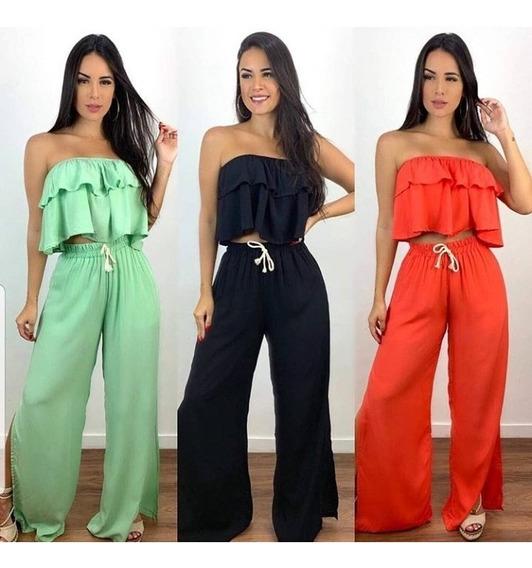 Conjunto Calça Flare Pantalona Fenda Cropped Curto Babado